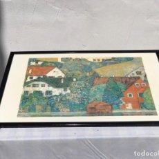 "Arte: ANTIGUA LITOGRAFÍA "" HOUSES AT UNTERACH ON THE ATTERSEE "" ARTISTA KLIMT AROUND 1916. Lote 235838695"