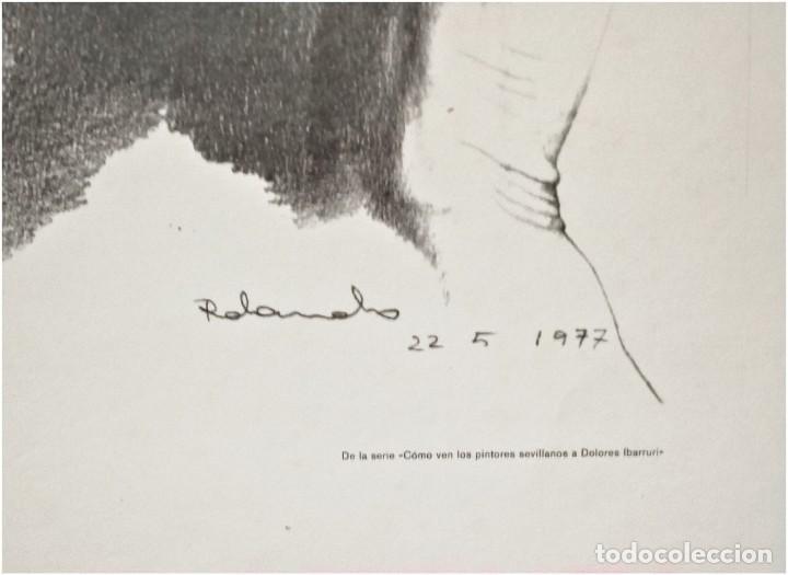 Arte: Retrato de Dolores Ibárruri, Pasionaria, por Rolando Campos.1977 - Foto 3 - 235855995