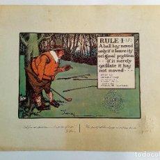 Arte: RULES OF GOLF / LAS REGLAS DEL GOLF - LITOGRAFÍA DE CHARLES CROMBIE. Lote 240014200