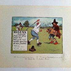 Arte: RULES OF GOLF / LAS REGLAS DEL GOLF - LITOGRAFÍA DE CHARLES CROMBIE. Lote 240014765