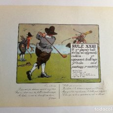 Arte: RULES OF GOLF / LAS REGLAS DEL GOLF - LITOGRAFÍA DE CHARLES CROMBIE. Lote 240014845