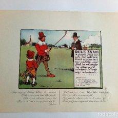 Arte: RULES OF GOLF / LAS REGLAS DEL GOLF - LITOGRAFÍA DE CHARLES CROMBIE. Lote 240015075