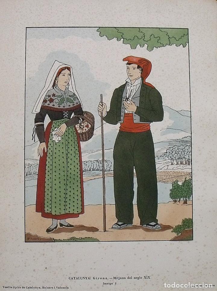 JOAN D'IVORI. VESTITS TÍPICS DE CATALUNYA. GIRONA. MITJANS SEGLE XIX. ORBIS. 1935. COLOREADA A MANO. (Arte - Litografías)