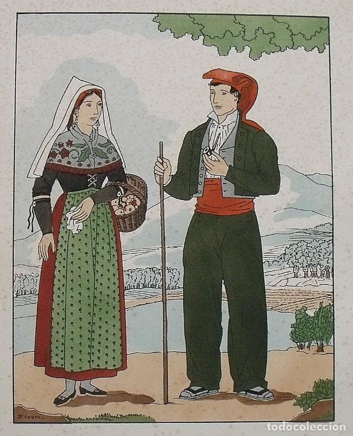 Arte: Joan dIvori. Vestits típics de Catalunya. Girona. Mitjans segle XIX. Orbis. 1935. Coloreada a mano. - Foto 2 - 242112690