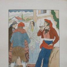 Arte: JOAN D'IVORI. VESTITS TÍPICS DE CATALUNYA. GIRONA. MITJANS SEGLE XIX. ORBIS. 1935. COLOREADA A MANO.. Lote 242112885