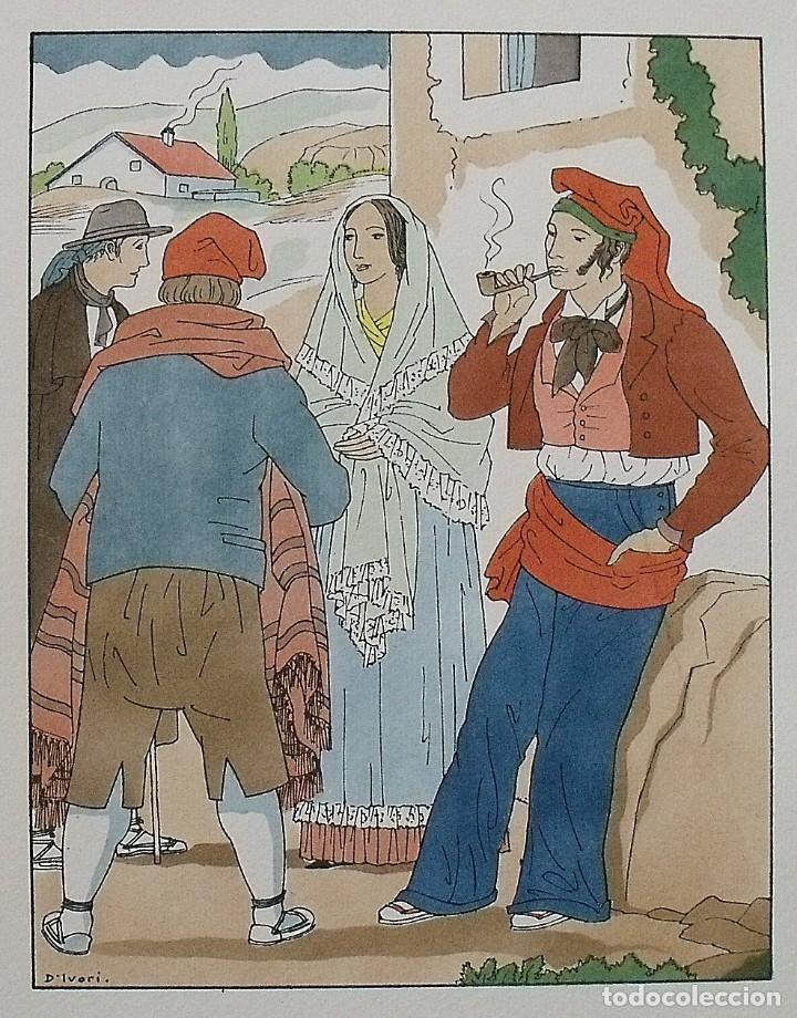 Arte: Joan dIvori. Vestits típics de Catalunya. Girona. Mitjans segle XIX. Orbis. 1935. Coloreada a mano. - Foto 2 - 242112885