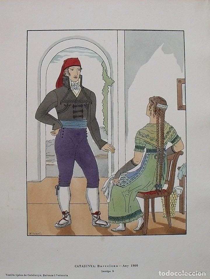 JOAN D'IVORI. VESTITS TÍPICS DE CATALUNYA. BARCELONA. ANY 1800. ORBIS. 1935. COLOREADA A MANO. (Arte - Litografías)