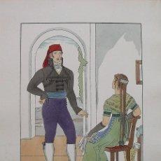 Arte: JOAN D'IVORI. VESTITS TÍPICS DE CATALUNYA. BARCELONA. ANY 1800. ORBIS. 1935. COLOREADA A MANO.. Lote 242113210
