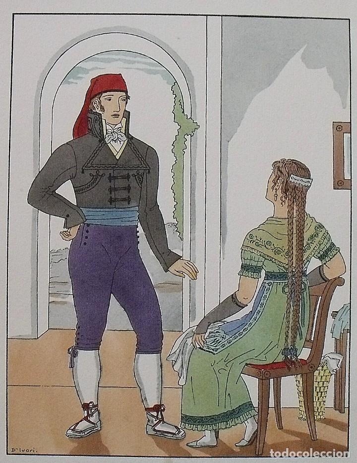Arte: Joan dIvori. Vestits típics de Catalunya. Barcelona. Any 1800. Orbis. 1935. Coloreada a mano. - Foto 2 - 242113210