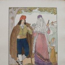 Arte: JOAN D'IVORI. VESTITS TÍPICS DE CATALUNYA. BARCELONA. ANY 1802. ORBIS. 1935. COLOREADA A MANO.. Lote 242113445