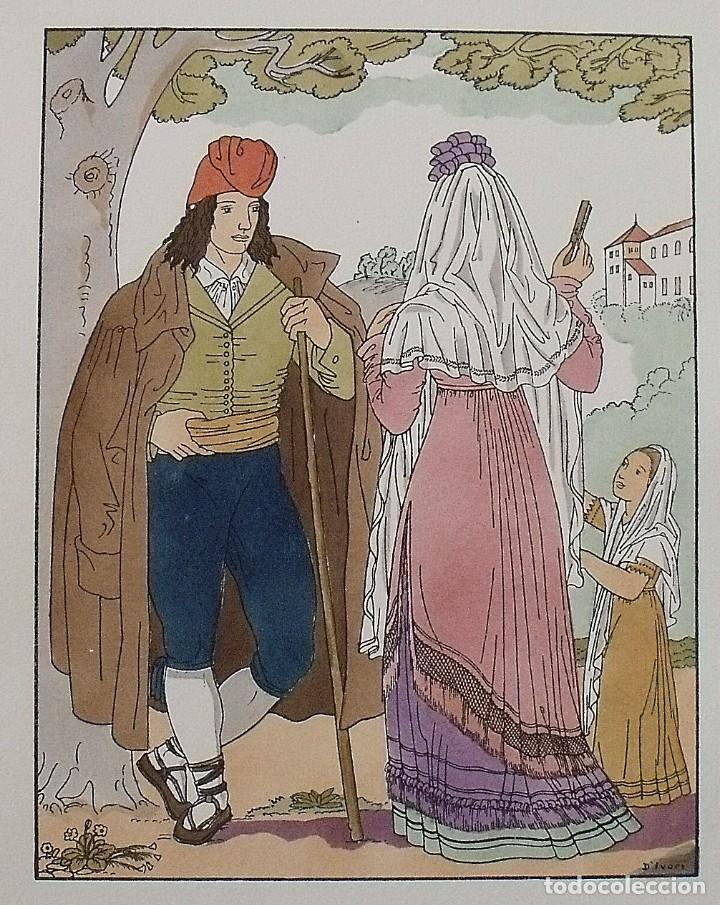 Arte: Joan dIvori. Vestits típics de Catalunya. Barcelona. Any 1802. Orbis. 1935. Coloreada a mano. - Foto 2 - 242113445
