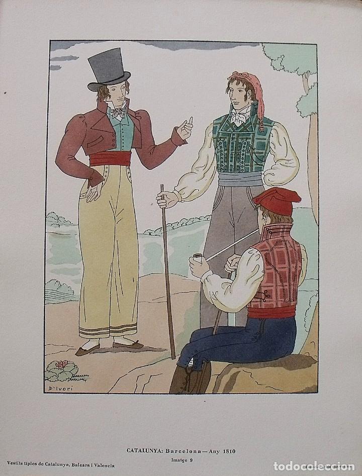 JOAN D'IVORI. VESTITS TÍPICS DE CATALUNYA. BARCELONA. ANY 1810. ORBIS. 1935. COLOREADA A MANO. (Arte - Litografías)