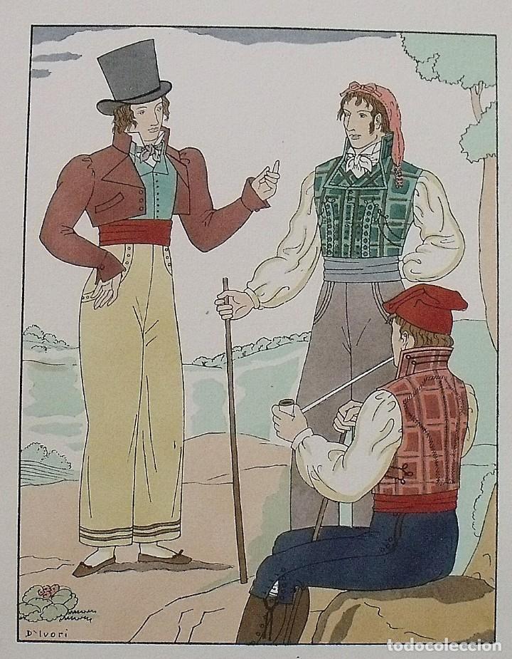 Arte: Joan dIvori. Vestits típics de Catalunya. Barcelona. Any 1810. Orbis. 1935. Coloreada a mano. - Foto 2 - 242113725