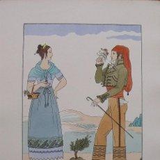 Arte: JOAN D'IVORI. VESTITS TÍPICS DE CATALUNYA. BARCELONA. ANY 1820. ORBIS. 1935. COLOREADA A MANO.. Lote 242113920