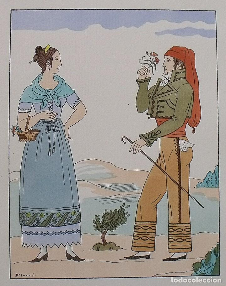 Arte: Joan dIvori. Vestits típics de Catalunya. Barcelona. Any 1820. Orbis. 1935. Coloreada a mano. - Foto 2 - 242113920