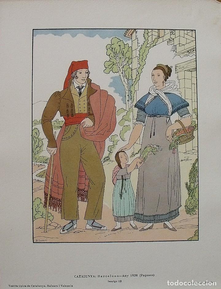 JOAN D'IVORI. VESTITS TÍPICS DE CATALUNYA. BARCELONA. ANY 1820. ORBIS. 1935. COLOREADA A MANO. (Arte - Litografías)