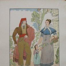 Arte: JOAN D'IVORI. VESTITS TÍPICS DE CATALUNYA. BARCELONA. ANY 1820. ORBIS. 1935. COLOREADA A MANO.. Lote 242114030
