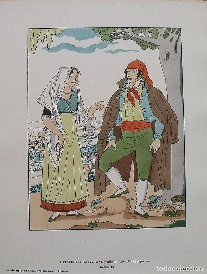 JOAN D'IVORI. VESTITS TÍPICS DE CATALUNYA. BARCELONA. VALLÈS. ANY 1820. ORBIS. 1935. COLOREADA MANO. (Arte - Litografías)