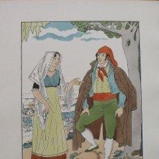 Arte: JOAN D'IVORI. VESTITS TÍPICS DE CATALUNYA. BARCELONA. VALLÈS. ANY 1820. ORBIS. 1935. COLOREADA MANO.. Lote 242114255