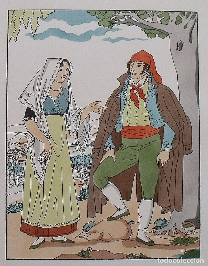 Arte: Joan dIvori. Vestits típics de Catalunya. Barcelona. Vallès. Any 1820. Orbis. 1935. Coloreada mano. - Foto 2 - 242114255