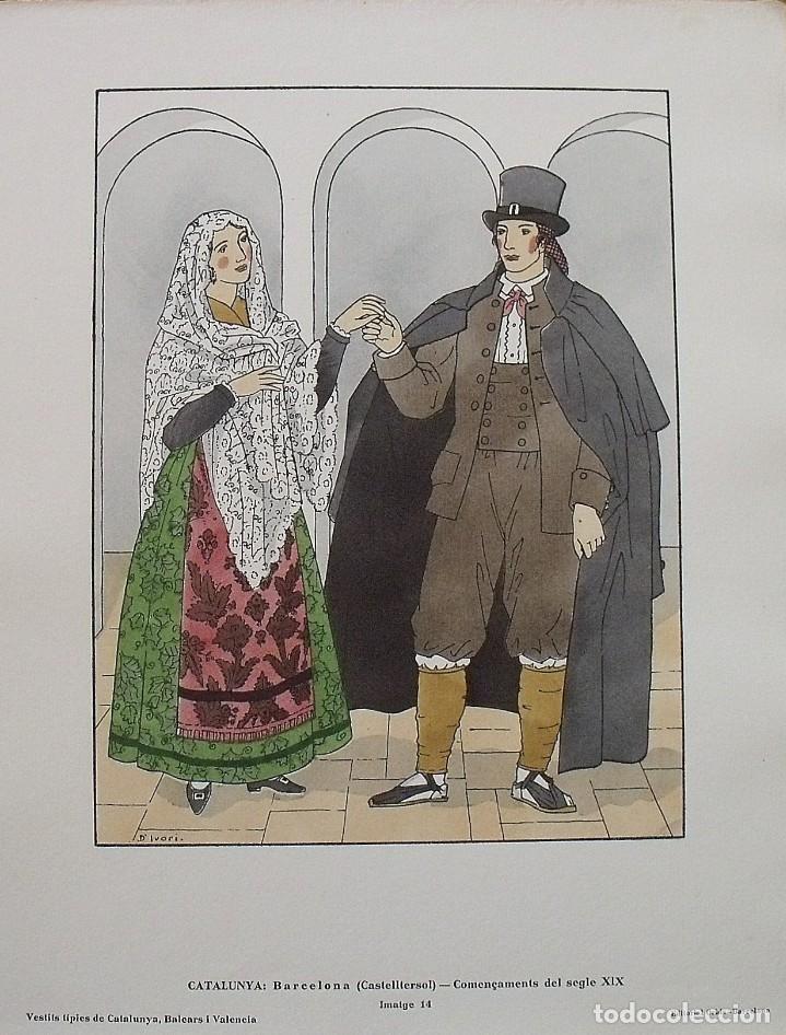 JOAN D'IVORI. VESTITS TÍPICS DE CATALUNYA. CASTELLTERÇOL. SEGLE XIX. ORBIS. 1935. COLOREADA MANO. (Arte - Litografías)