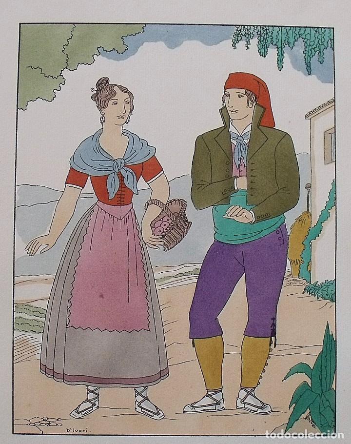 Arte: Joan dIvori. Vestits típics de Catalunya. Barcelona. Segle XIX. Orbis. 1935. Coloreada mano. - Foto 2 - 242114915