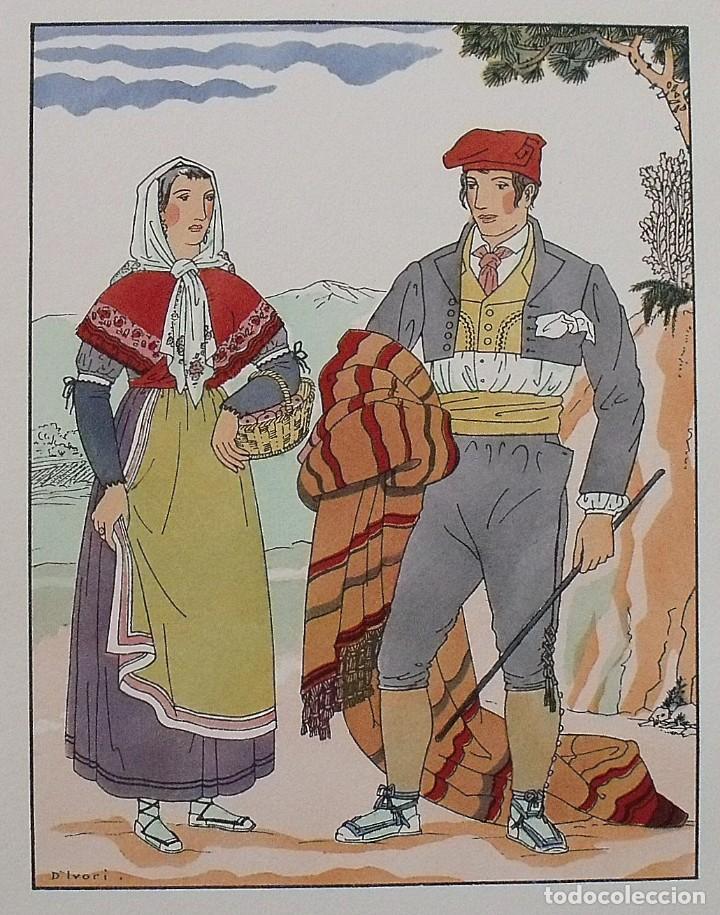 Arte: Joan dIvori. Vestits típics de Catalunya. Barcelona. Segle XIX. Orbis. 1935. Coloreada mano. - Foto 2 - 242115020