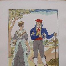 Arte: JOAN D'IVORI. VESTITS TÍPICS DE CATALUNYA. BARCELONA. ANY 1840. ORBIS. 1935. COLOREADA MANO. Lote 242115445