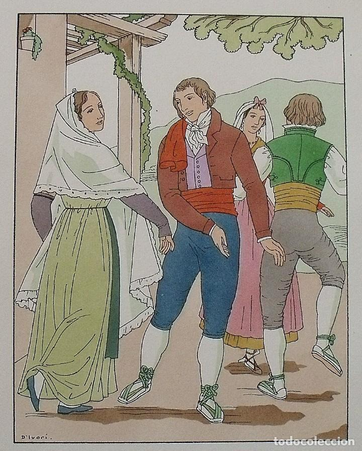Arte: Joan dIvori. Vestits típics de Catalunya. Barcelona. Segle XIX. Orbis. 1935. Coloreada mano - Foto 2 - 242115560