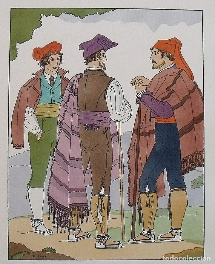 Arte: Joan dIvori. Vestits típics de Catalunya. Barcelona. Any 1854. Orbis. 1935. Coloreada mano - Foto 2 - 242115835