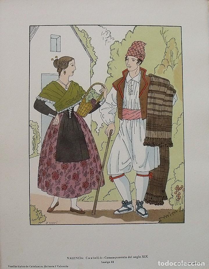 JOAN D'IVORI. VESTITS TÍPICS DE VALÈNCIA. CASTELLÓ. SEGLE XIX. ORBIS. 1935. COLOREADA A MANO. (Arte - Litografías)