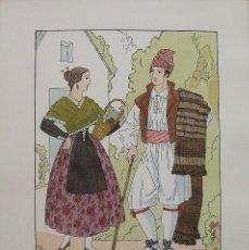 Arte: JOAN D'IVORI. VESTITS TÍPICS DE VALÈNCIA. CASTELLÓ. SEGLE XIX. ORBIS. 1935. COLOREADA A MANO.. Lote 242116070