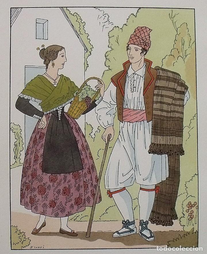 Arte: Joan dIvori. Vestits típics de València. Castelló. Segle XIX. Orbis. 1935. Coloreada a mano. - Foto 2 - 242116070
