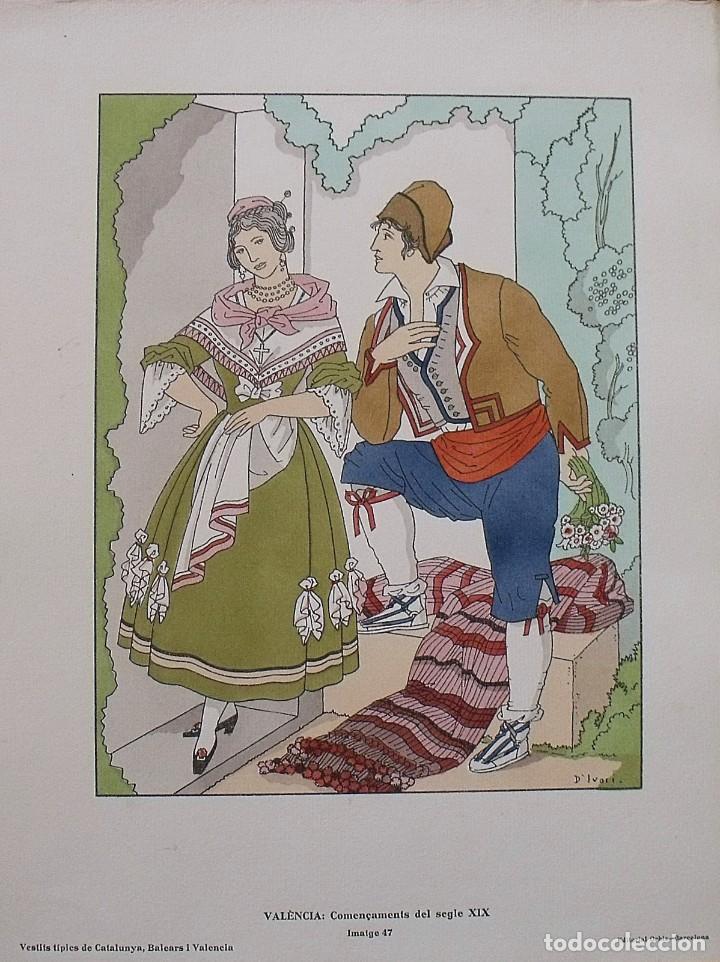 JOAN D'IVORI. VESTITS TÍPICS DE VALÈNCIA. SEGLE XIX. ORBIS. 1935. COLOREADA A MANO. (Arte - Litografías)
