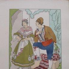Arte: JOAN D'IVORI. VESTITS TÍPICS DE VALÈNCIA. SEGLE XIX. ORBIS. 1935. COLOREADA A MANO.. Lote 242116570