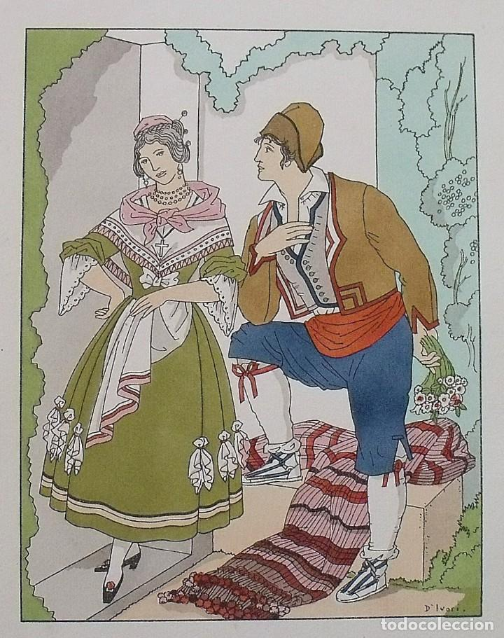 Arte: Joan dIvori. Vestits típics de València. Segle XIX. Orbis. 1935. Coloreada a mano. - Foto 2 - 242116570