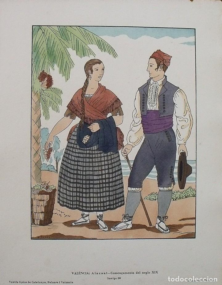 JOAN D'IVORI. VESTITS TÍPICS DE VALÈNCIA. ALACANT. ALICANTE. SEGLE XIX. ORBIS. 1935. COLOREADA MANO. (Arte - Litografías)