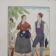 Arte: JOAN D'IVORI. VESTITS TÍPICS DE VALÈNCIA. ALACANT. ALICANTE. SEGLE XIX. ORBIS. 1935. COLOREADA MANO.. Lote 242116990