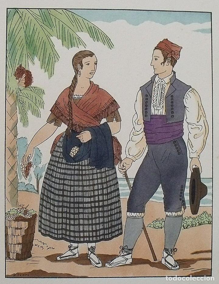 Arte: Joan dIvori. Vestits típics de València. Alacant. Alicante. Segle XIX. Orbis. 1935. Coloreada mano. - Foto 2 - 242116990