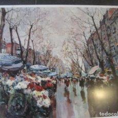 Arte: CARTEL METALICO REPROD PINTURA PINTOR J. AMAT LA RAMBLA LITOGRAFIA LLAMAS BADALONA 60/48 CM 1980. Lote 243390805