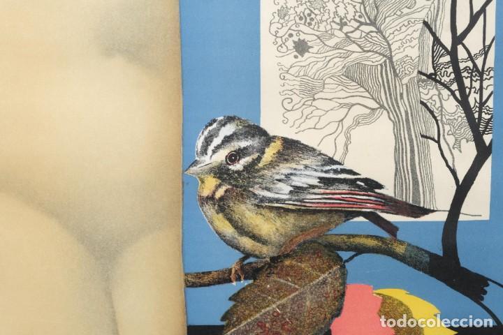 Arte: Litografía Torso femenino y pájaro firma ilegible a lápiz - Foto 2 - 243665580