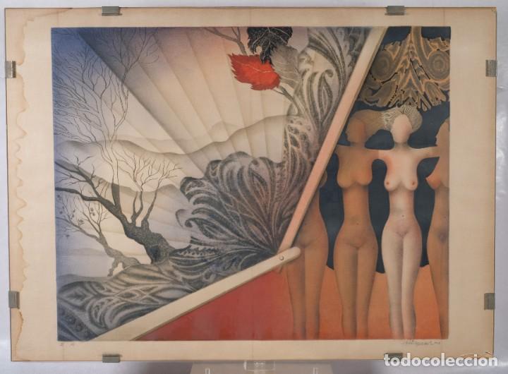 LITOGRAFÍA TORSO DESNUDOS FEMENINOS Y PAISAJE FIRMA ILEGIBLE A LÁPIZ (Arte - Litografías)