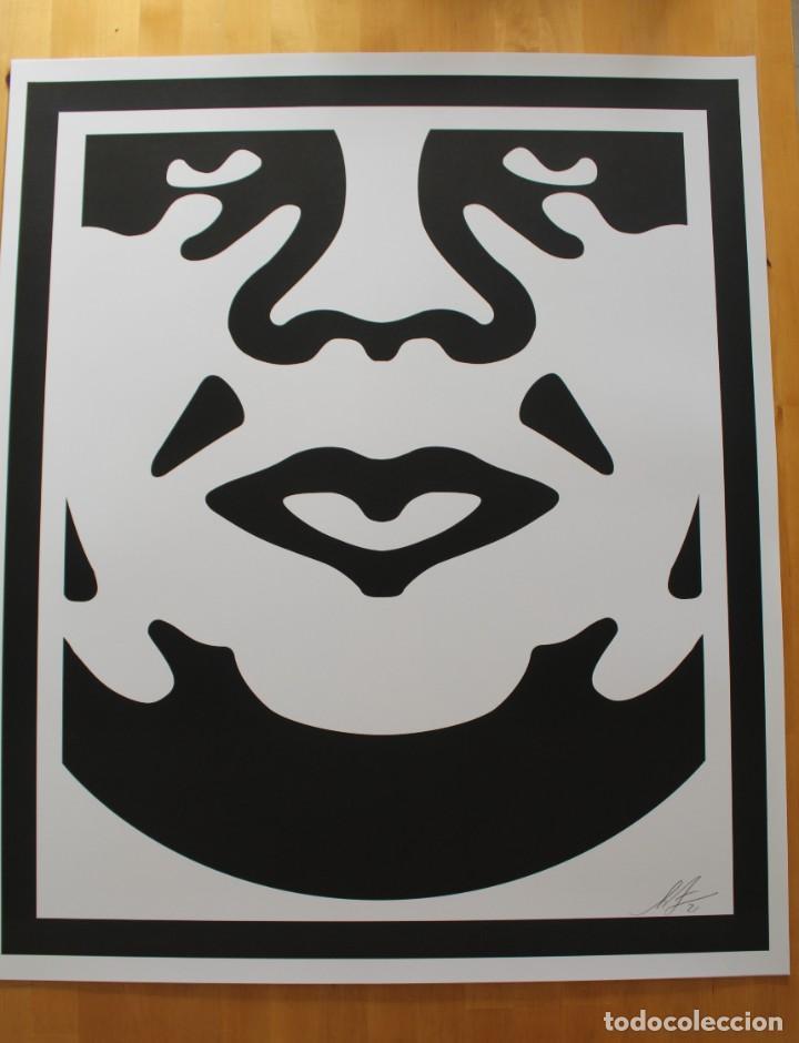Arte: Icónica Litografía de OBEY (Shepard Fairey)-Firmada- Obey 3Face White - 64x76,5cm - Foto 4 - 244738600