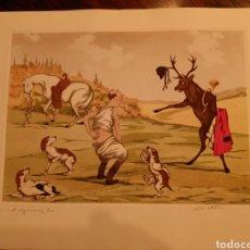 Arte: LITOGRAFÍA CON UNA ESCENA CÓMICA DE CAZA. Lote 244961585