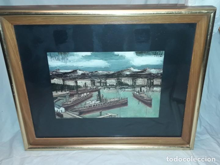 Arte: Bello antiguo cuadro con litografía de Bernard Buffet año 1972 - Foto 2 - 247628910