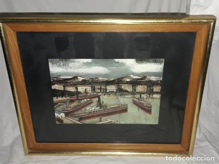 Arte: Bello antiguo cuadro con litografía de Bernard Buffet año 1972 - Foto 3 - 247628910
