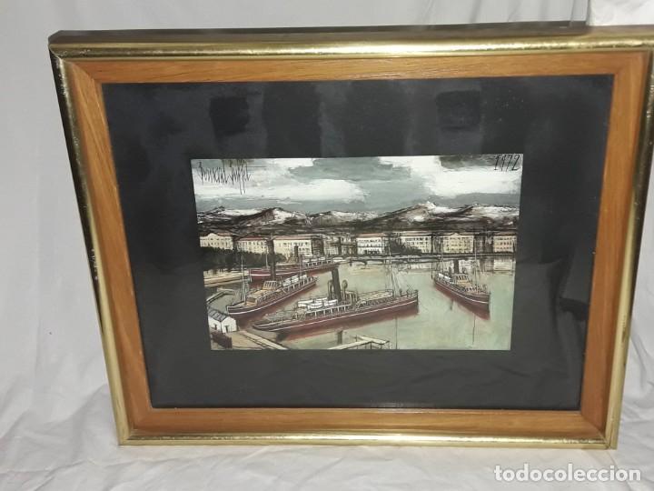 Arte: Bello antiguo cuadro con litografía de Bernard Buffet año 1972 - Foto 9 - 247628910