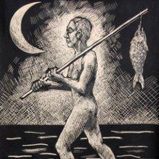 Arte: ROBERT LLIMÓS I ORIOL (1943) LITOGRAFÍA 96/99. PESCADOR. FIRMADA Y FECHADA A LÁPIZ. AÑO 1985. Lote 249406150