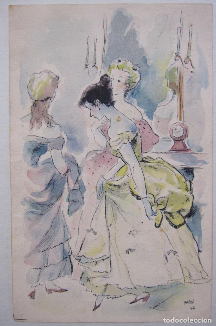 Arte: JOAN PALET BATISTE. 6 LITOGRAFIAS ILUMINADAS A MANO. 1942. 13 X 8,5 CM. FIRMADAS Y FECHADAS - Foto 3 - 252773260