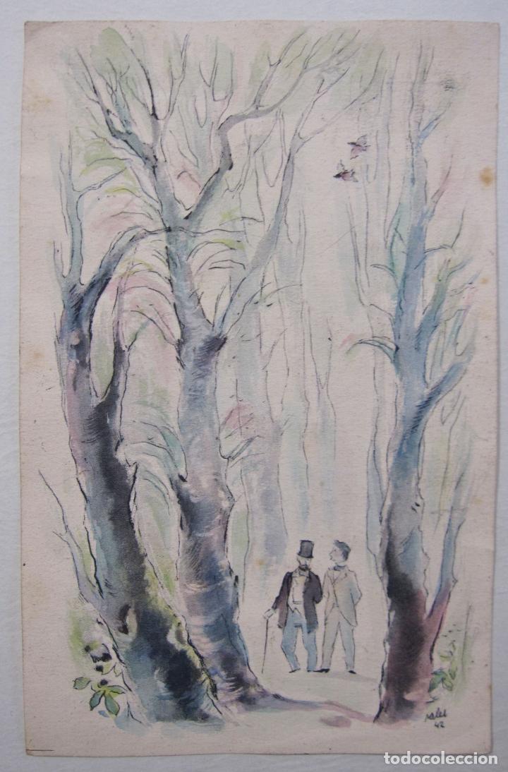 Arte: JOAN PALET BATISTE. 6 LITOGRAFIAS ILUMINADAS A MANO. 1942. 13 X 8,5 CM. FIRMADAS Y FECHADAS - Foto 4 - 252773260